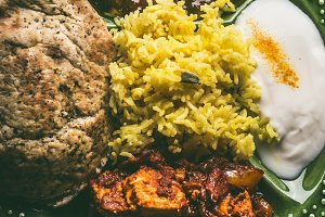 Close up of  Indian foods