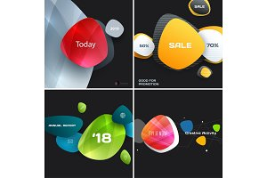 Set of abstract vector design for graphic template. Creative modern business background with rounded shapes for promotion