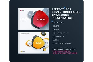 Business set of design brochure, abstract annual report, horizontal cover layout, flyer in A4 with vector colourful rounded shapes