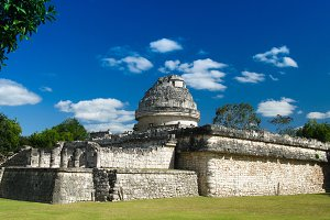View to observatory ruin in Chichen Itza ancient city Mexico