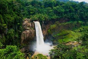 Panorama of main cascade of Ekom waterfall, Nkam river, Cameroon