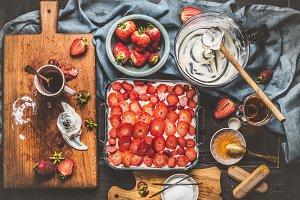Strawberries cake cooking