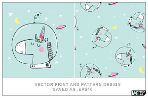 VECTOR UNICORN PRINT AND PATTERN