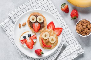 Funny pancakes with animal faces