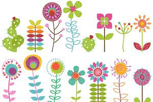 Retro Flowers Clipart & Vectors