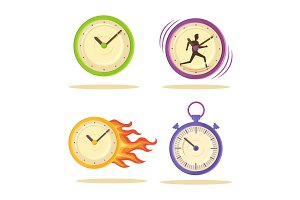 Set of Varied Watch Poster Vector Illustration
