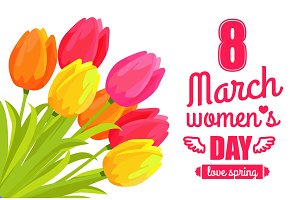 8 March Ladys Day Love Spring Vector Illustration