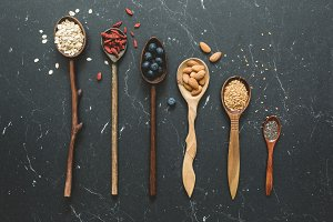 Superfood selection in wooden spoons