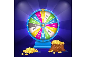 Wheel of Luck or Fortune Sack Full of Golden Coins