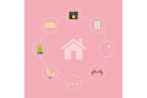 House and Icon Interior Poster Vector Illustration