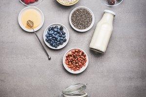 Healthy breakfast jar ingredients