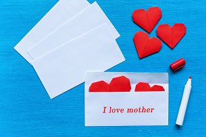 Hearts in an envelope. I love mother