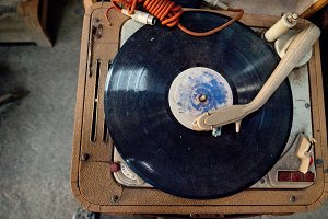 Retro portable turntable.