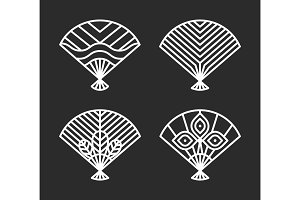 Japanese Icons of Fans Set Vector Illustration