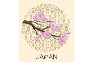 Japan Promo Poster with Sakura Branch and Pattern