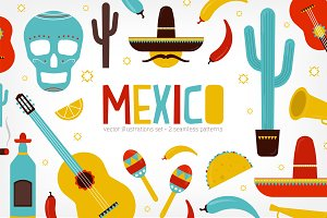 Mexico set and seamless pattern