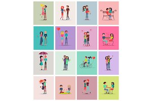 Couples in Love Collection Vector Illustration