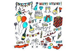 Happy Birthday Big Collection Vector Illustration