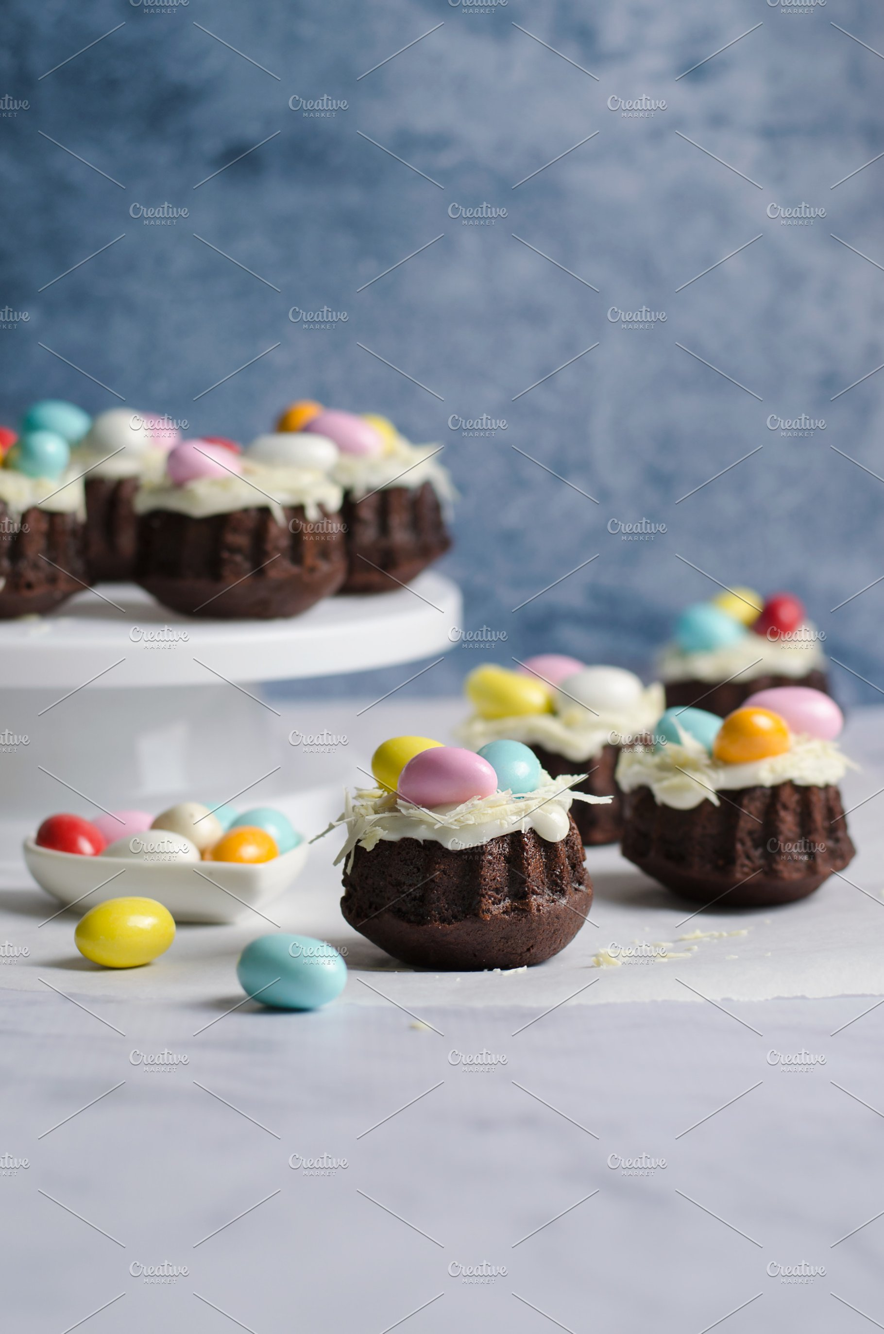 Mini Bundt Cakes Decorated With Chocolate Eggs Easter Dessert