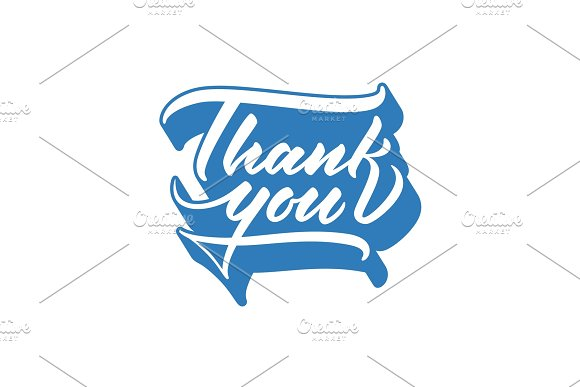 Thank You Lettering Vector Inscription