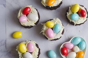 Mini Bundt Cakes Decorated with Chocolate Eggs, Easter Dessert