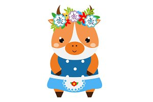Cute cow dressed in skirt