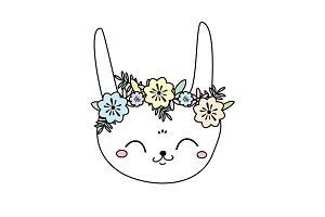 Cute bunny face in flower wreath