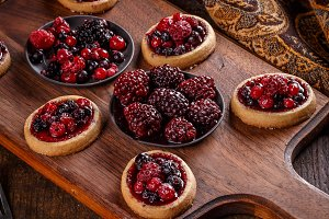 Delicious berry fruits mini tarts