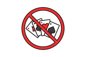 Forbidden sign with playing cards color icon