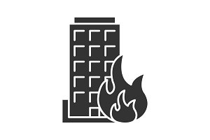 Burning building glyph icon