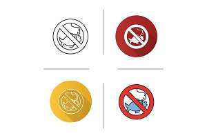 Forbidden sign with fish icon