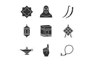 Islamic culture glyph icons set