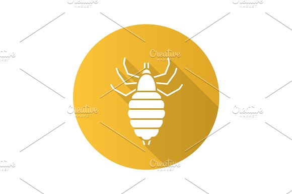 Louse Flat Design Long Shadow Glyph Icon