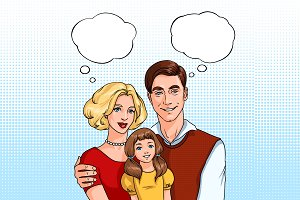 Happy family with speech bubble