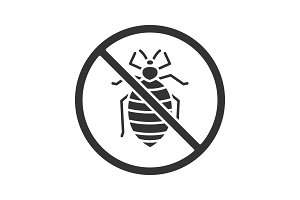 Stop bed bug sign glyph icon