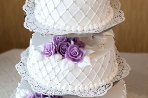 Wedding cake decorated with flowers and berries beautiful, decoration
