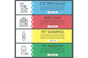 Pets supplies web banner templates set