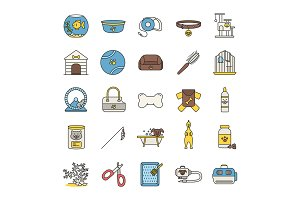 Pets supplies color icons set