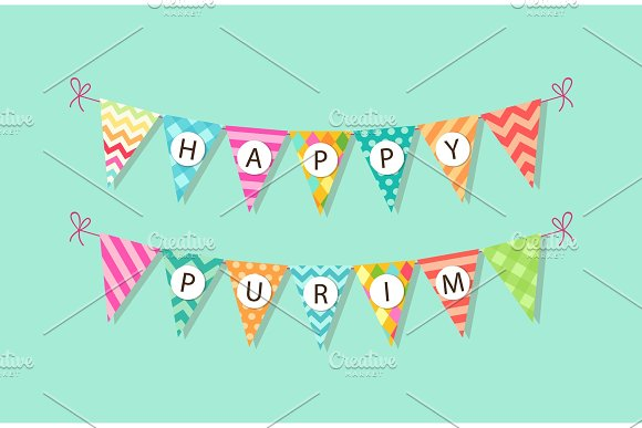 Cute Bright And Colorful Bunting Flags For Happy Purim
