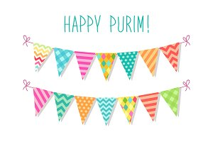 Cute bright and colorful bunting flags for Happy Purim (jewish holiday)