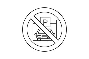 Forbidden sign with parking zone linear icon