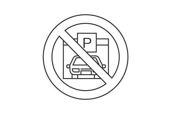 Forbidden sign with parking zone linear icon in Graphics