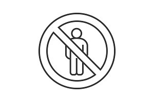 Forbidden sign with male silhouette linear icon