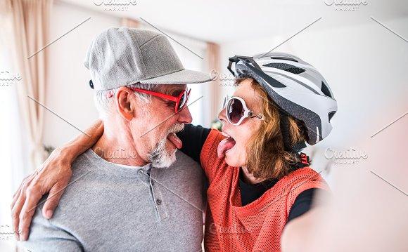 Senior couple having fun at home.