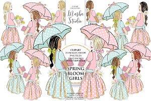 SPRING BLOOM GIRLS cllipart