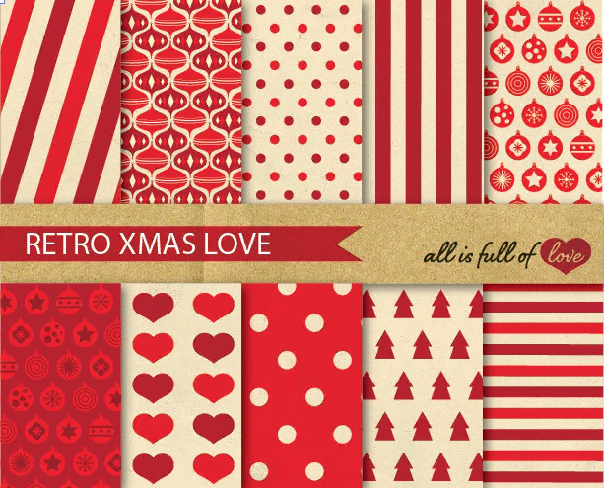 Red Christmas Vintage Patterns Set Graphic Patterns Creative Market