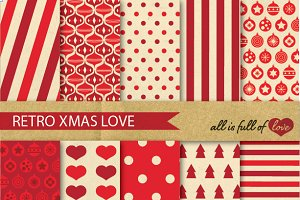 Red Christmas Vintage Patterns Set