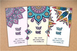 15 Business card in ethnic style