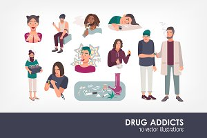 Set of different drug addicts