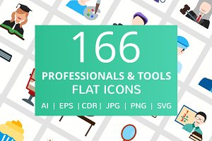 166 Professionals & Tools Flat Icons